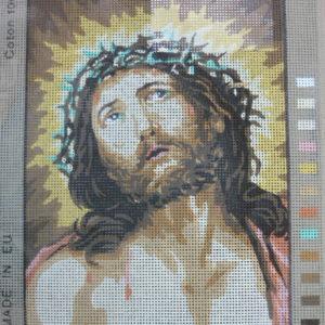 """Canovaccio Per Ricamo Mezzo Punto """"Cristo"""" Di Guido Reni"""